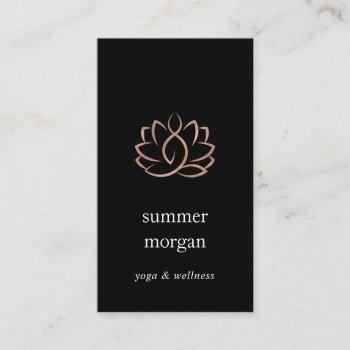 rose gold lotus logo | yoga wellness massage business card