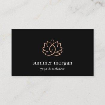 rose gold lotus logo | yoga wellness meditation business card