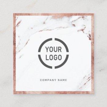 rose gold marble custom company logo professional square business card