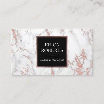 rose gold marble makeup artist hair stylist salon business card
