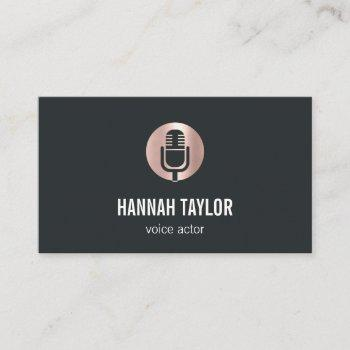 rose gold microphone voice actor business card