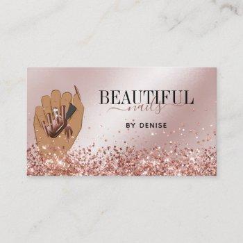 rose gold nail salon woman hand nails technician business card