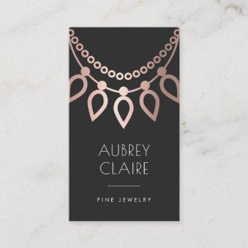 rose gold necklace logo | jewelry designer business card