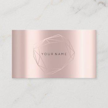 rose gold pearly poligonal frame lux metallic business card