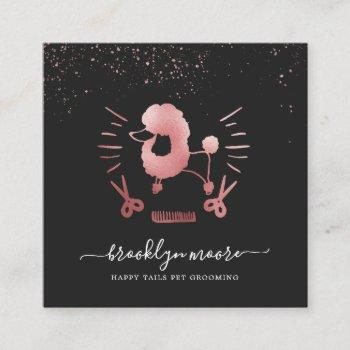 rose gold pet grooming logo | square business square business card