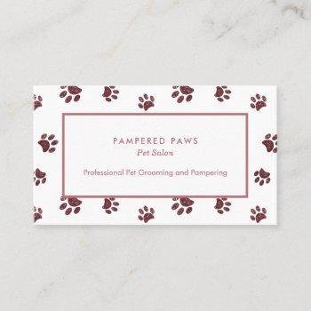 rose gold pink glitter paw prints pet salon business card