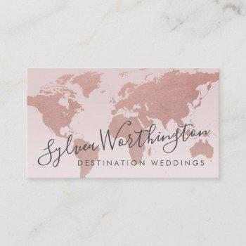 rose gold pink world map travel business card