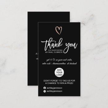 rose gold script heart black logo order thank you business card