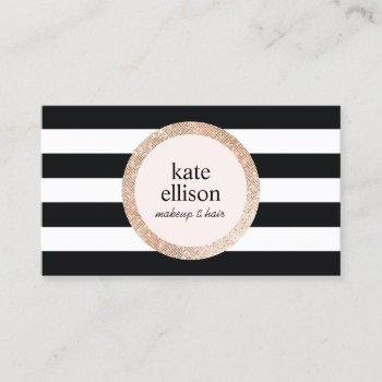 rose gold sequin black white striped beauty salon business card