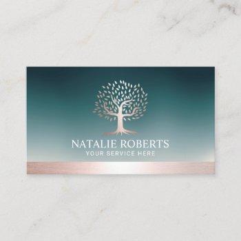 rose gold tree logo teal wellness salon spa  business card