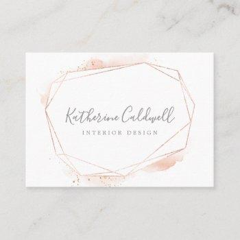 rose gold watercolor geometric business card