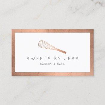 rose gold whisk bakery business card