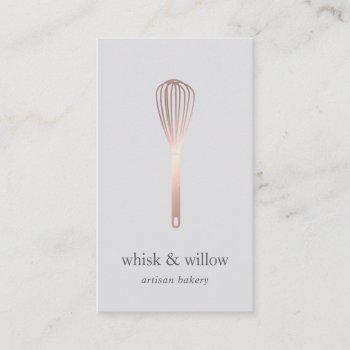 rose gold whisk   bakery   chef   caterer business card
