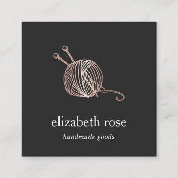 rose gold yarn | knitting crochet handmade crafts square business card