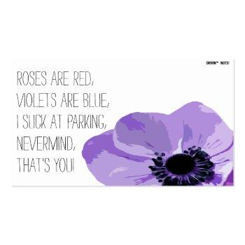 Small Roses Are Red - You Suck At Parking Business Card Front View