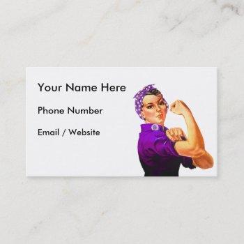 rosie the riveter - purple fibromyalgia business card