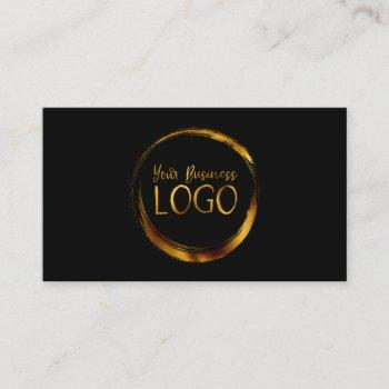 round business logo on black promo business card