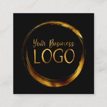 round business logo on black promo square business card
