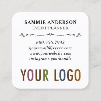 round corners with logo & photo modern square business card