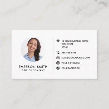 round photo modern minimalist social media icons business card
