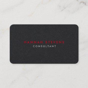 rounded corner black grey red professional modern business card