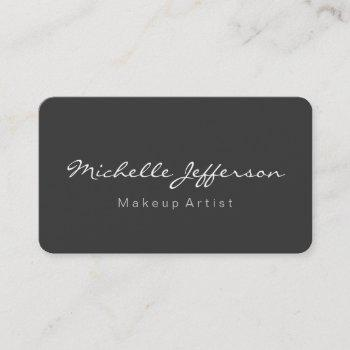 rounded corner grey makeup artist business card