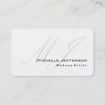 rounded corner makeup artist white business card