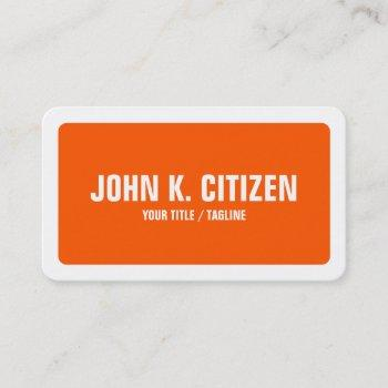 rounded corners simple orange and white border business card