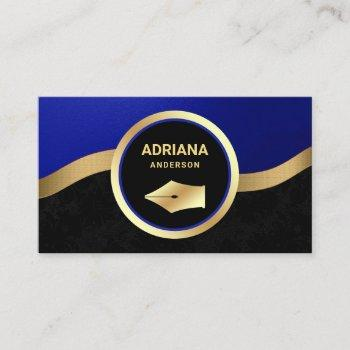 royal blue lawyer attorney gold pen nib notary business card