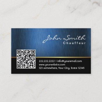 royal blue qr code chauffeur business card