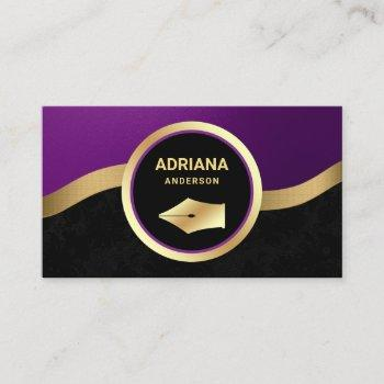 royal purple lawyer attorney gold pen nib notary business card