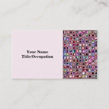 ruby red 'bijoux' textured mosaic tiles pattern business card