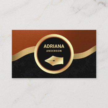 rust orange lawyer attorney gold pen nib notary business card