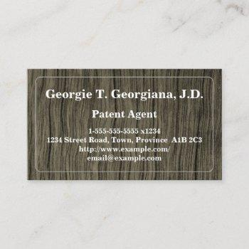 rustic and conservative patent agent business card
