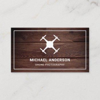 rustic barn wood modern drone photography business card