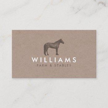 rustic brown horse etching logo farming, farmers business card