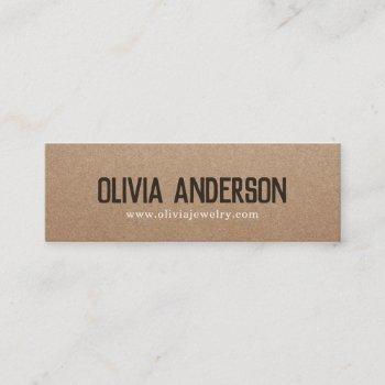 rustic brown kraft cardboard handmade jewelry mini business card
