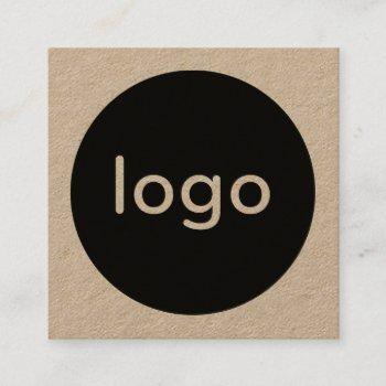 rustic brown kraft paper add your logo handmade square business card
