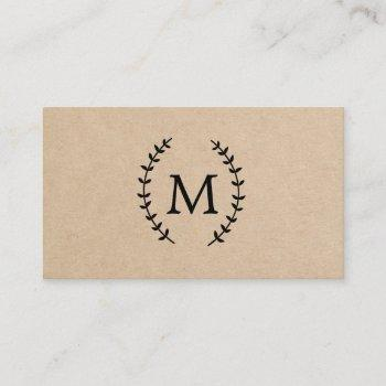 rustic brown laurel monogram business card