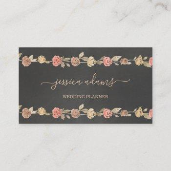 rustic brown roses floral wedding specialist business card