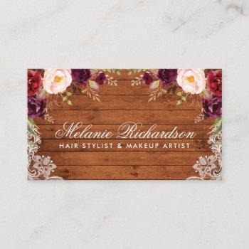 rustic burgundy floral lace wood business card