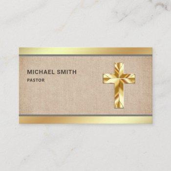 rustic burlap gold foil jesus christ cross pastor business card