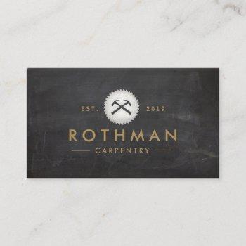 rustic carpenter hammer saw construction logo business card
