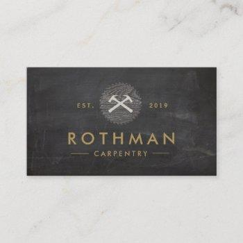 rustic carpenter hammer saw construction logo business card