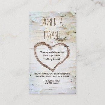 rustic country birch tree heart carving business card