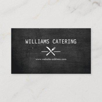 rustic crossed fork knife logo black wood business card