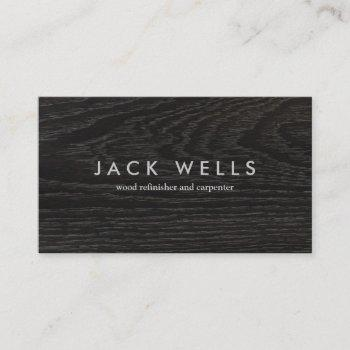 rustic dark wood carpenter business card