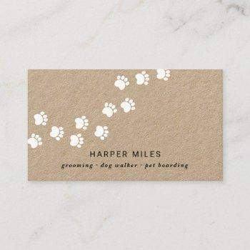 rustic dog boarding professional white paw path business card