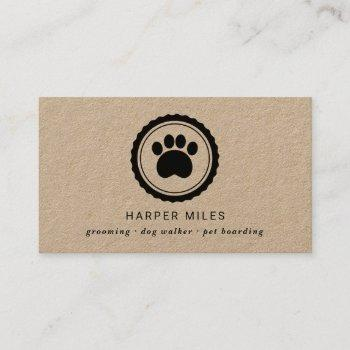 rustic dog grooming paw print label business card