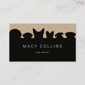 rustic dog silhouette brown kraft business card